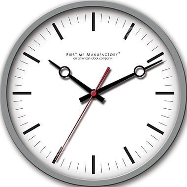FirsTime 10042 Plastic Analog Wall Clock, Dark Silver