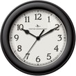 FirsTime 10043 Black Essential Wall Clock, White Face