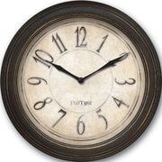 FirsTime 25516 Plastic Analog Distressed Wall Clock, Black
