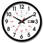 FirsTime 25604 Plastic Analog Day Date Wall Clock, Black
