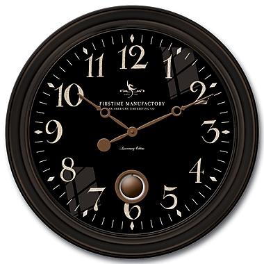 FirsTime 25628 Plastic Analog Wall Clock, Black