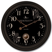 FirsTime 25628 Plastic Analog Wall Clock, Black