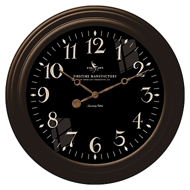 FirsTime 25631 Plastic Analog Wall Clock, Black