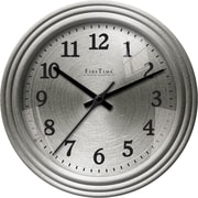 FirsTime 25666 Sleek Steel Wall Clock, Silver Face