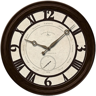 FirsTime 25667 Plastic Analog Wall Clock, Bronze