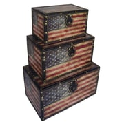 Cheungs American Flag 3 Piece Trunk Set