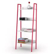Dar 4 Tier Angled Ladder Shelving 58.38'' Bookcase; White and Red