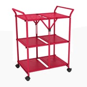 Dar 33.75'' 3 Shelf Folding Cart with Handle; Red