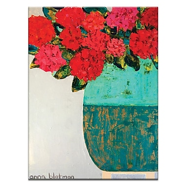 Artist Lane Red Geraniums by Anna Blatman Framed Painting Print on Wrapped Canvas