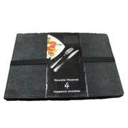 Textiles Plus Inc. Reversible Faux Leather Embossed Dinning Room Placemat (Set of 4); Black