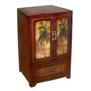 Cheungs Wooden Palm Tree Print 2 Door / Drawer Cabinet