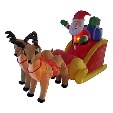 BZB Goods 6 ft. Long Santa Sleigh w/ Two Reindeer Decoration