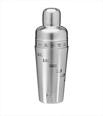 Kraftware Stainless Steel 32 Oz. Recipe Cocktail Shaker WYF078277013461