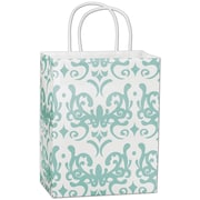 "Bags & Bows® Classicality 10 1/2"" x 8 1/4"" x 4 3/4"" Cub Mini Pack Shoppers Bag, Aqua On White"