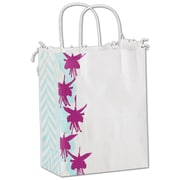 "Bags & Bows® Fuchsia Floral 10 1/2"" x 8 1/4"" x 4 3/4"" Mini Pack Shoppers Bag, Blue/Purple On White"