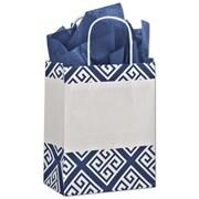 "Bags & Bows® Larissa 10 1/2"" x 8 1/4"" x 4 3/4"" Mini Pack Cub Shoppers Bag, Blue On White"