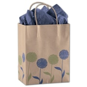 "Bags & Bows® Painted Posies 10 1/2"" x 8 1/4"" x 4 3/4"" Mini Pack Cub Shoppers Bag, Blue On Kraft"