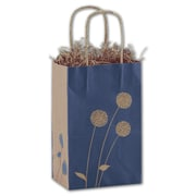 "Deluxe Kraft Paper 8.25""H x 5.25""W x 3.5""D Painted Posies Shopper Bags, Blue/Brown, 25/Pack"