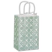 """Bags & Bows® Aurora 8 1/4"""" x 5 1/4"""" x 3 1/2"""" Mini Cub Shoppers Bag, Green On White"""