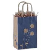 "Bags & Bows® Painted Posies 8 1/4"" x 5 1/4"" x 3 1/2"" Mini Shoppers Bag, Blue On Kraft"