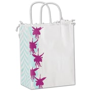 "Bags & Bows® Fuchsia Floral 10 1/2"" x 8 1/4"" x 4 3/4"" Shoppers Bag, Blue/Purple On White, 100/Pack"