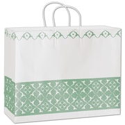 Bags & Bows® Aurora 12 1/2 x 16 x 6 Vogue Shoppers Bag, Green On White