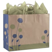 "Bags & Bows® Painted Posies 12 1/2"" x 16"" x 6"" Vogue Shoppers Bag, Blue On Kraft"