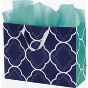 "Bags & Bows® Regency Euro-Shoppers 16"" x 6"" x 12"" Bag, Green/White/Blue"