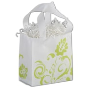 Bags & Bows® Fresh Greens 6 1/2 x 6 1/2 x 3 1/2 Mini Shoppers Bag, Green On White