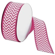 "Bags & Bows® 1 1/2"" x 25 Yds. Chevron Ribbon, Shocking Pink"