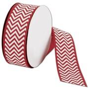 "Bags & Bows® 1 1/2"" x 25 Yds. Chevron Ribbon, Red"