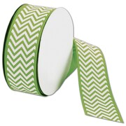 "Bags & Bows® 1 1/2"" x 25 Yds. Chevron Ribbon, Apple Green"