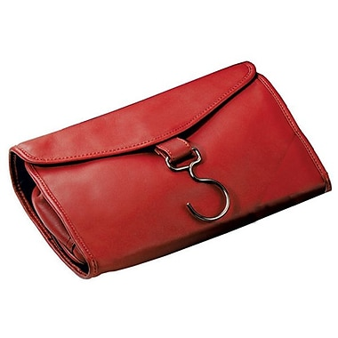 Royce Leather Hanging Toiletry Bag, Red, Silver Foil Stamping, 3 Initials