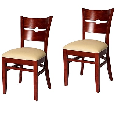 Beechwood Mountain Coin Back Wooden Side Chair, Mahogany