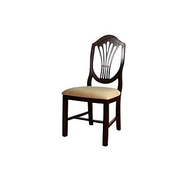 Beechwood Mountain Shield Back Beech Microfiber Wooden Dining Chair, Dark Mahogany