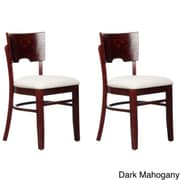 Beechwood Mountain Card Linen Upholstered Side Chair, Dark Mahogany