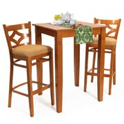 Beechwood Mountain Diamond Table and 2 Stools Bar Set, Mahogany