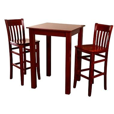 Beechwood Mountain Jacob Table and 2 Stools Beechwood Bar Set, Mahogany