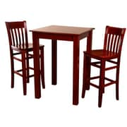 Beechwood Mountain Jacob Table and 2 Stools Beechwood Bar Set, Mahogany