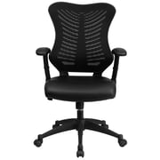 Flash Furniture BLZP806BKLEA LeatherSoft High-Back Executive Chair with Adjustable Arms, Black