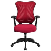 Flash Furniture BLZP806BY Mesh High-Back Task Chair with Adjustable Arms, Burgundy