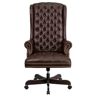 Flash Furniture LeatherSoft Leather Executive Office Chair, Fixed Arms, Brown (CI360BRN)