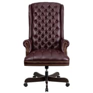 Flash Furniture CI360BY Leathersoft Traditional Executive Chair, Burgundy
