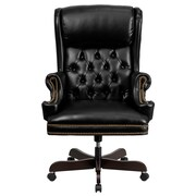 Flash Furniture CIJ600BK Leather High-Back Executive Chair with Fixed Arms, Black