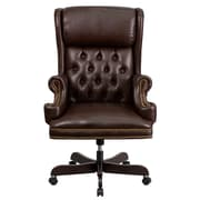 Flash Furniture CIJ600BRN Leather High-Back Executive Chair with Fixed Arms, Brown