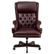 Flash Furniture CIJ600BY Leather High-Back Executive Chair with Fixed Arms, Burgundy