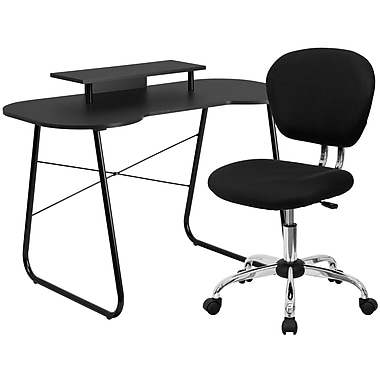 Flash Furniture Standard Computer/Writing Desk with Monitor Stand and Task Chair, Black (NAN1)