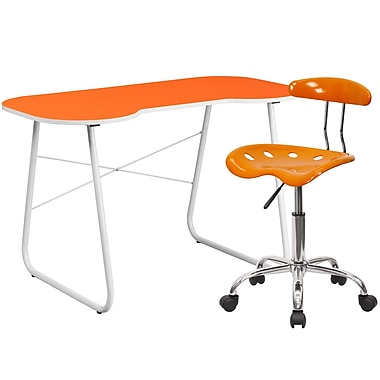 Flash Furniture Standard Computer/Writing Desk with Task Chair, Orange (NAN14LF)