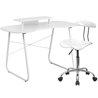 Flash Furniture Standard Computer/Writing Desk with Monitor Stand and Task Chair, White (NAN2LF)