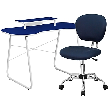 Flash Furniture Standard Computer/Writing Desk with Monitor Stand and Task Chair, Navy (NAN3)